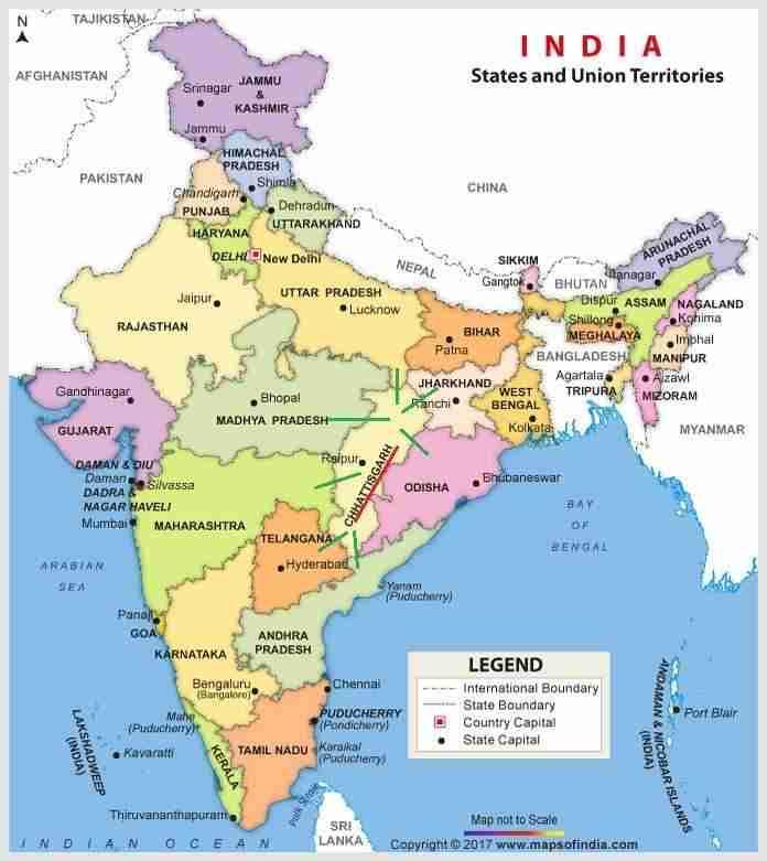 भारत में छत्तीसगढ़ का भौगोलिक स्थिति : Notes For PSC Vyapam
