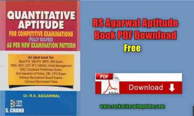 Rs Agarwal Aptitude Book Pdf Download Sarkari Result Update