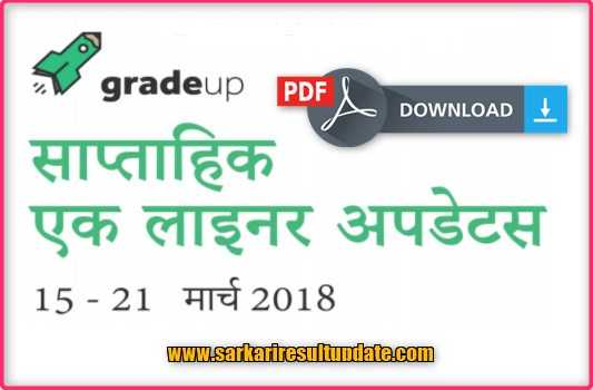 Gradeup weekly one-liner March 2018 in Hindi PDF Download