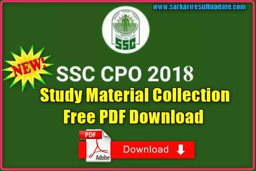 SSC CPO Study Material Collection Free PDF Download