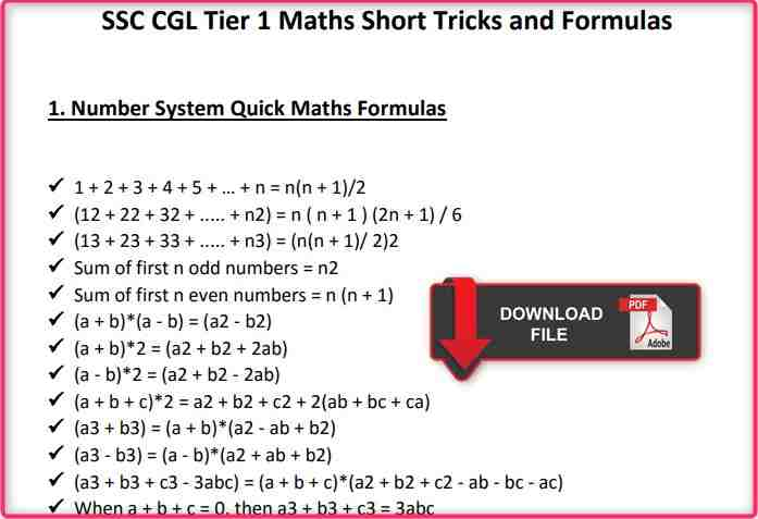 Latest 100+ Maths Question Competition Formula in Hindi PDF