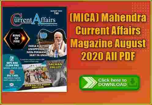 (MICA) Mahendra Current Affairs Magazine 2020 All PDF