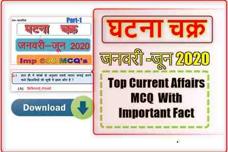 Top Current Affairs MCQ Questions & Answers (January to June 2020) PDF